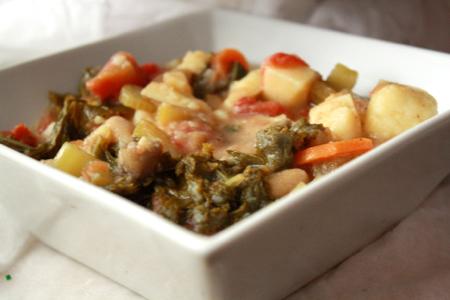 soupe aux légumes et vin blanc