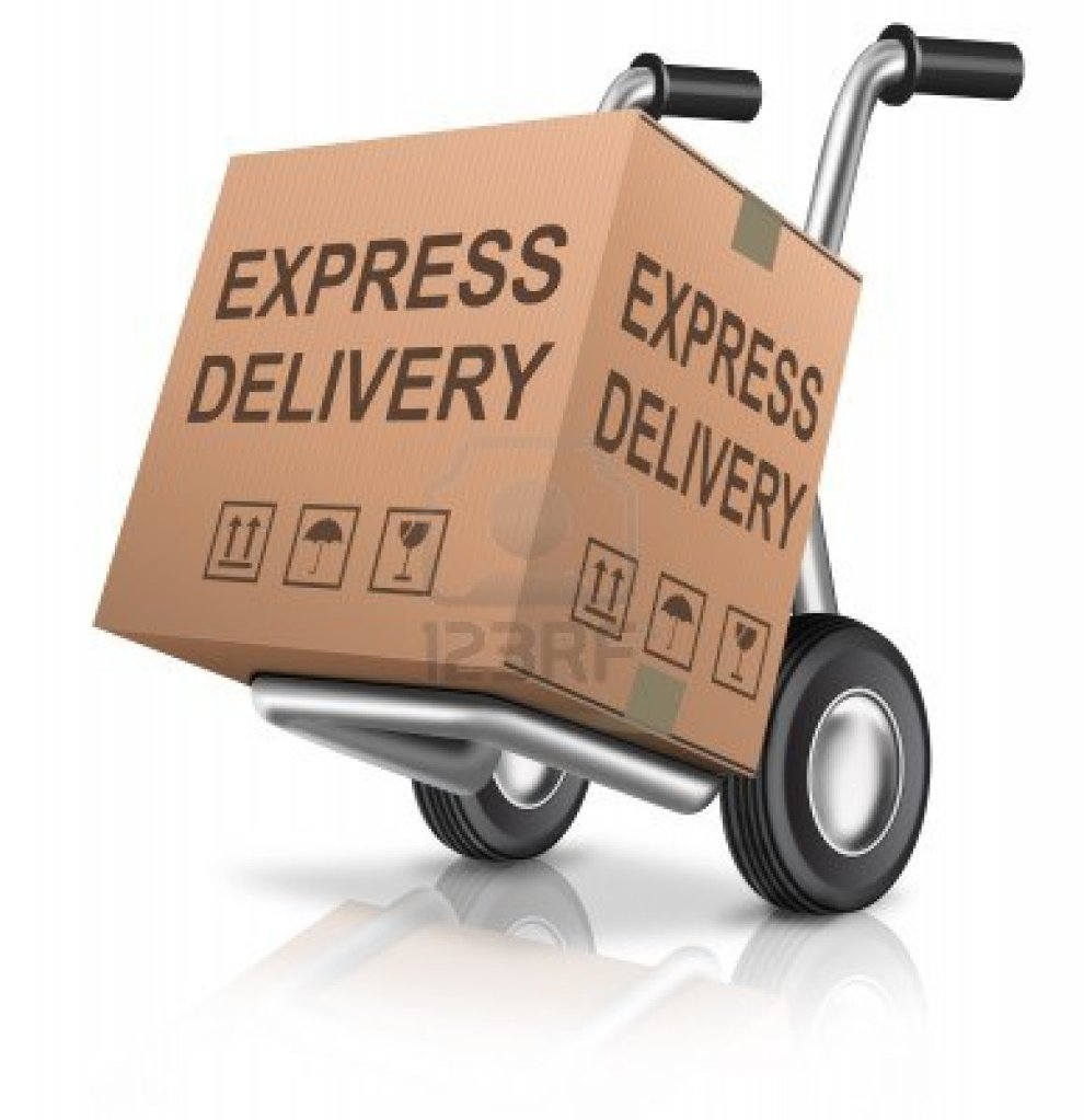 express-delivery-cardboard-box-on-hand-truck-with-text-concept-for-order-shipping-of-online-webshop-