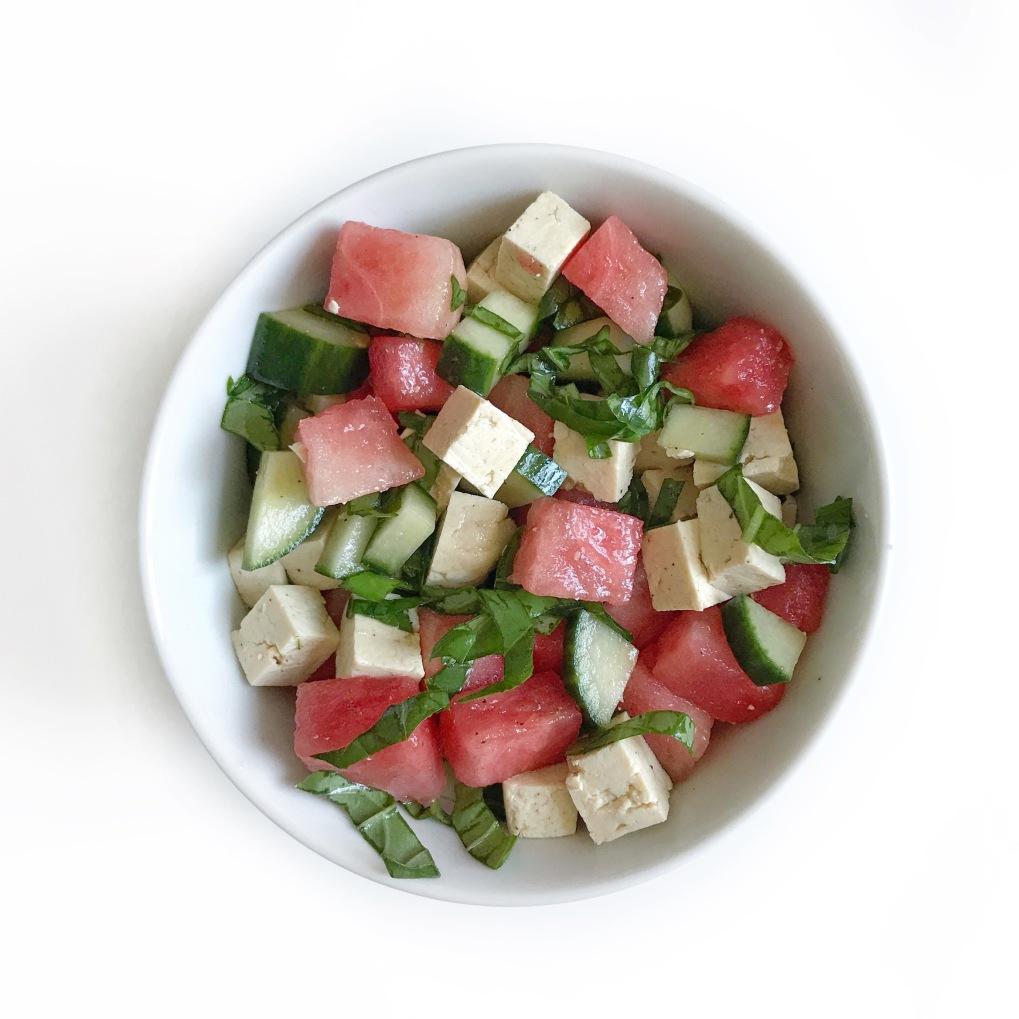 salade melon tofu basilic